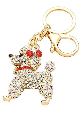Rosemarie Collections Women S Pave Crystal Keychain Handbag Charm Pretty Poodle