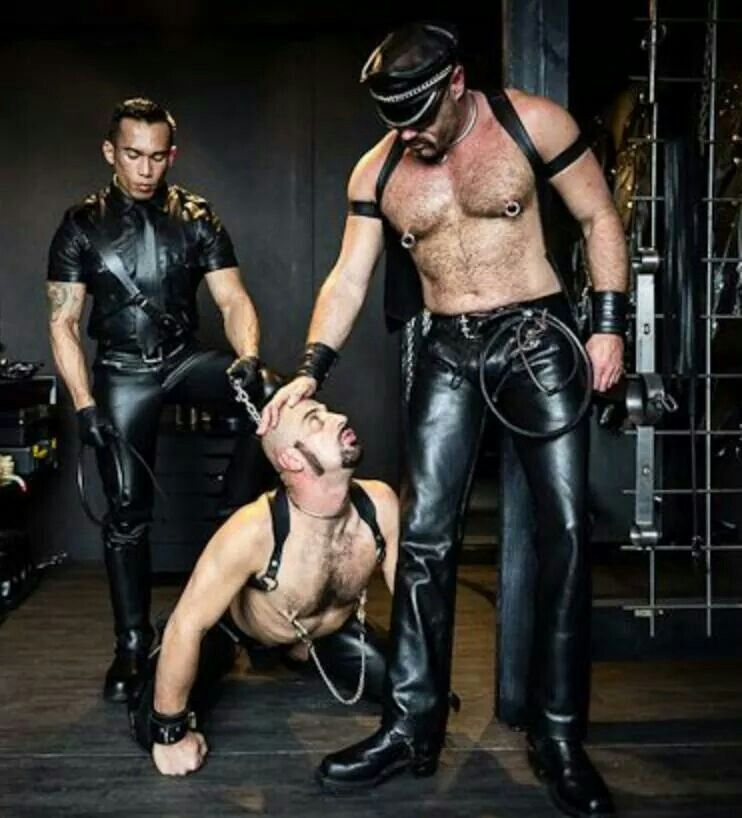 Master slave leather men girl