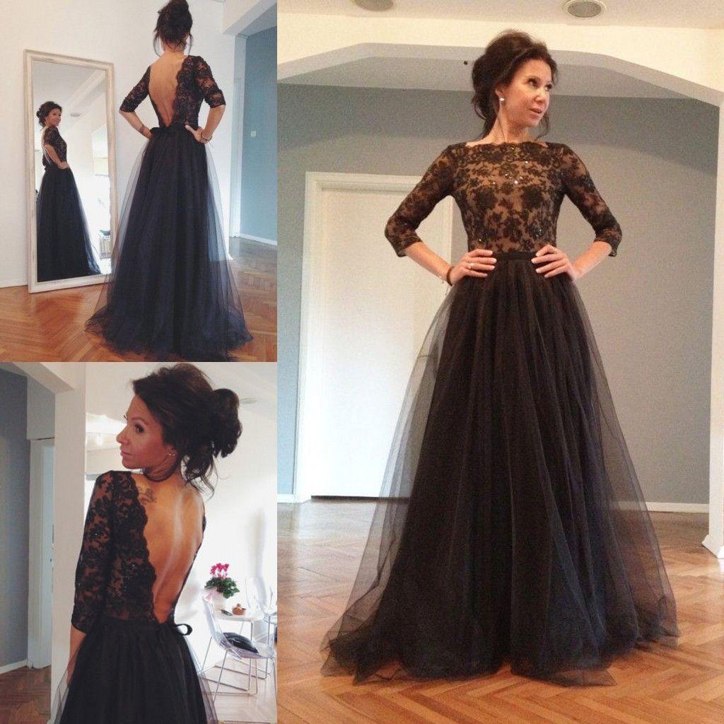 long prom dress,black Prom Dress,backless prom dress,Charming prom ...