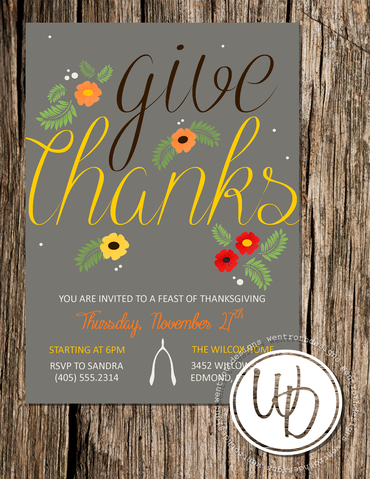Rustic Thanksgiving Invitation By Wentroth Designs Visit Us On Facebook To Request A Price Quote