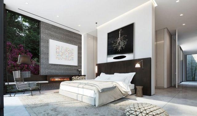 designer schlafzimmer schwarz weiß grau kaminofen Ideen rund ums - modernes schlafzimmer gestalten ideen
