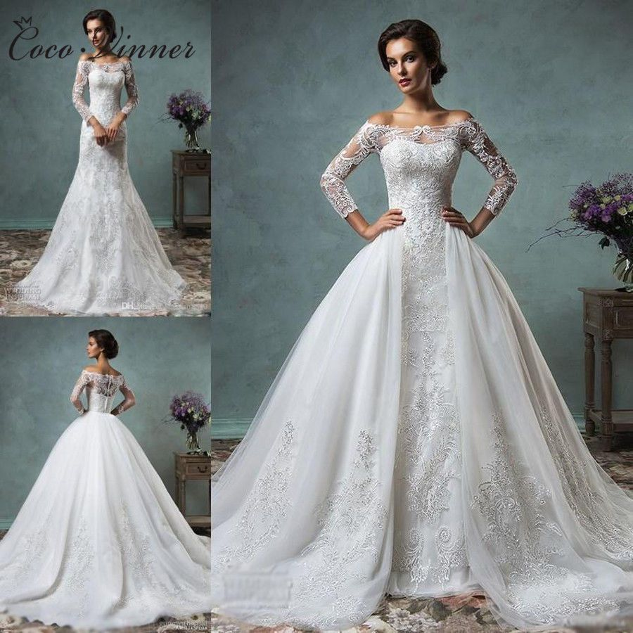 Ivory wedding dresses with sleeves  Vintage Removed Train Mermaid Wedding Dress Lace Tulle WhiteIvory