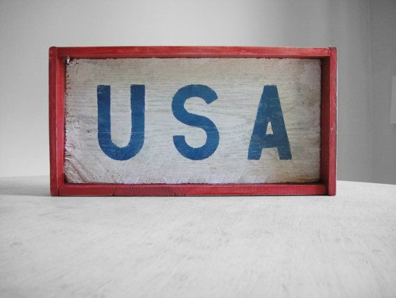 USA Sign Reclaimed Wood Sign USA Patriotic Sign  by VCvintagefinds, $19.99