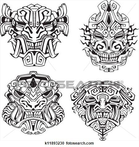e4ee166b3 Aztec monster totem masks Clipart - Fotosearch Enhanced. k11893230  Fotosearch Stock Photography and Stock Footage helps you find the perfect  photo or ...