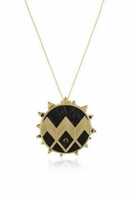 House of Harlow 1960 Black Leather Zig Zag Sunburst Necklace  pendant a295b0290a405