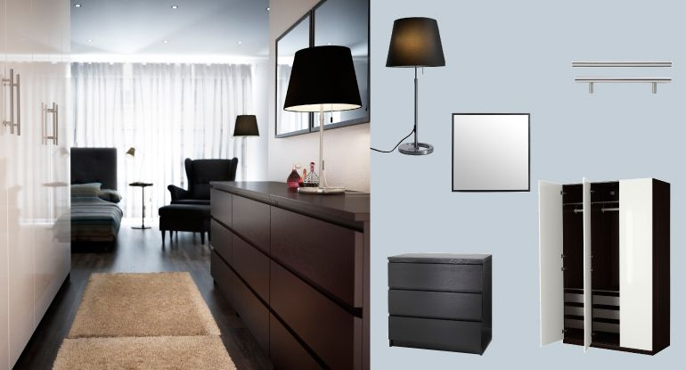 pax black-brown wardrobe with fardal white high-gloss doors and, Hause deko
