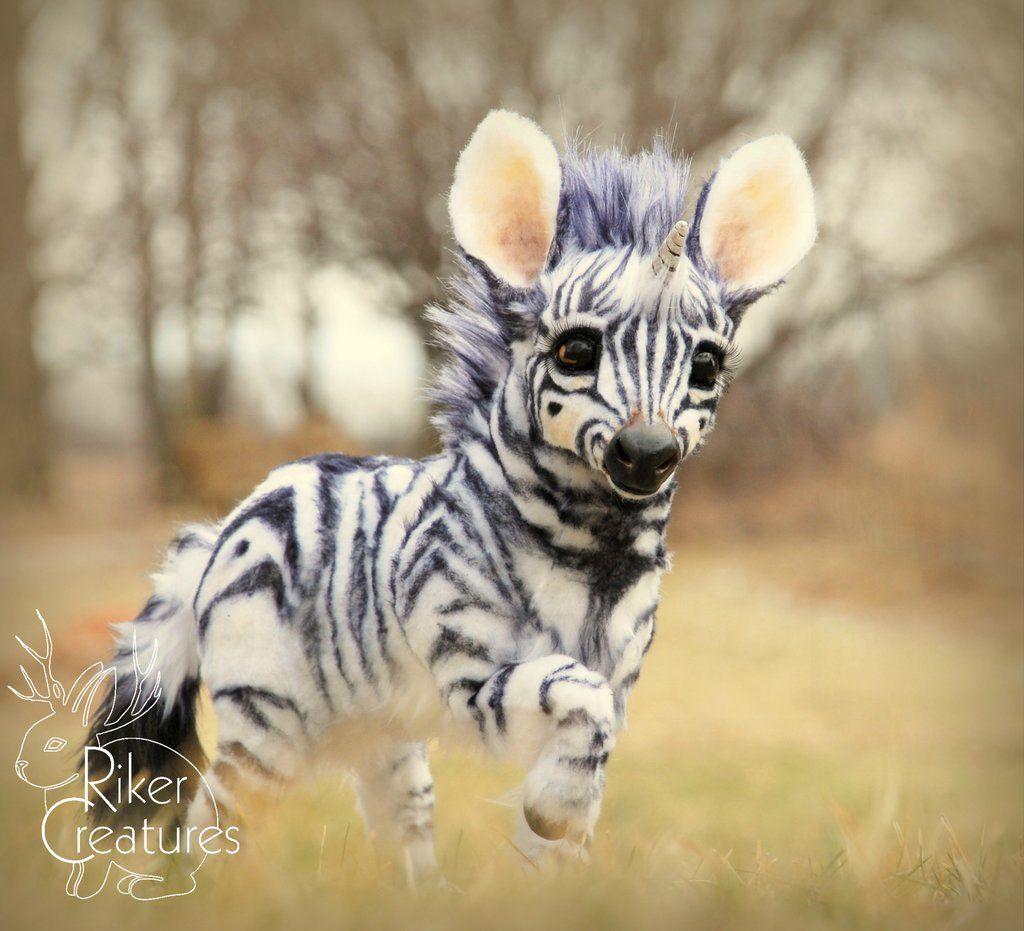 Baby Zebracorn Fantasy Poseable Creature By Rikercreatures Tiere Susse Tiere Niedliche Tiere