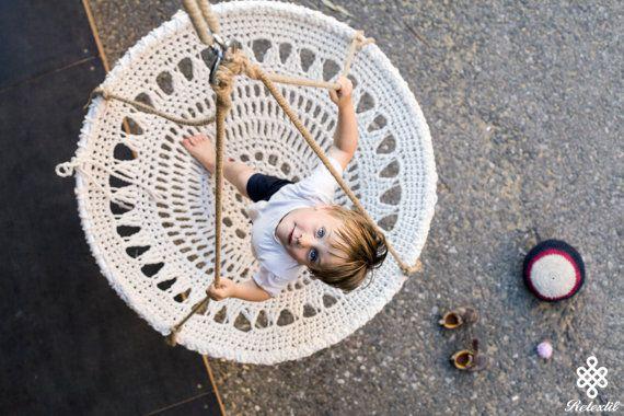 Mandala de ganchillo Swing silla de ganchillo blanco por retextil