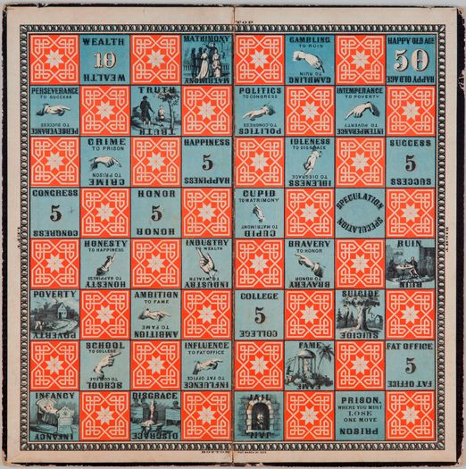 The Checkered Game Of Life 1866 Milton Bradley 1836 1911 Opened