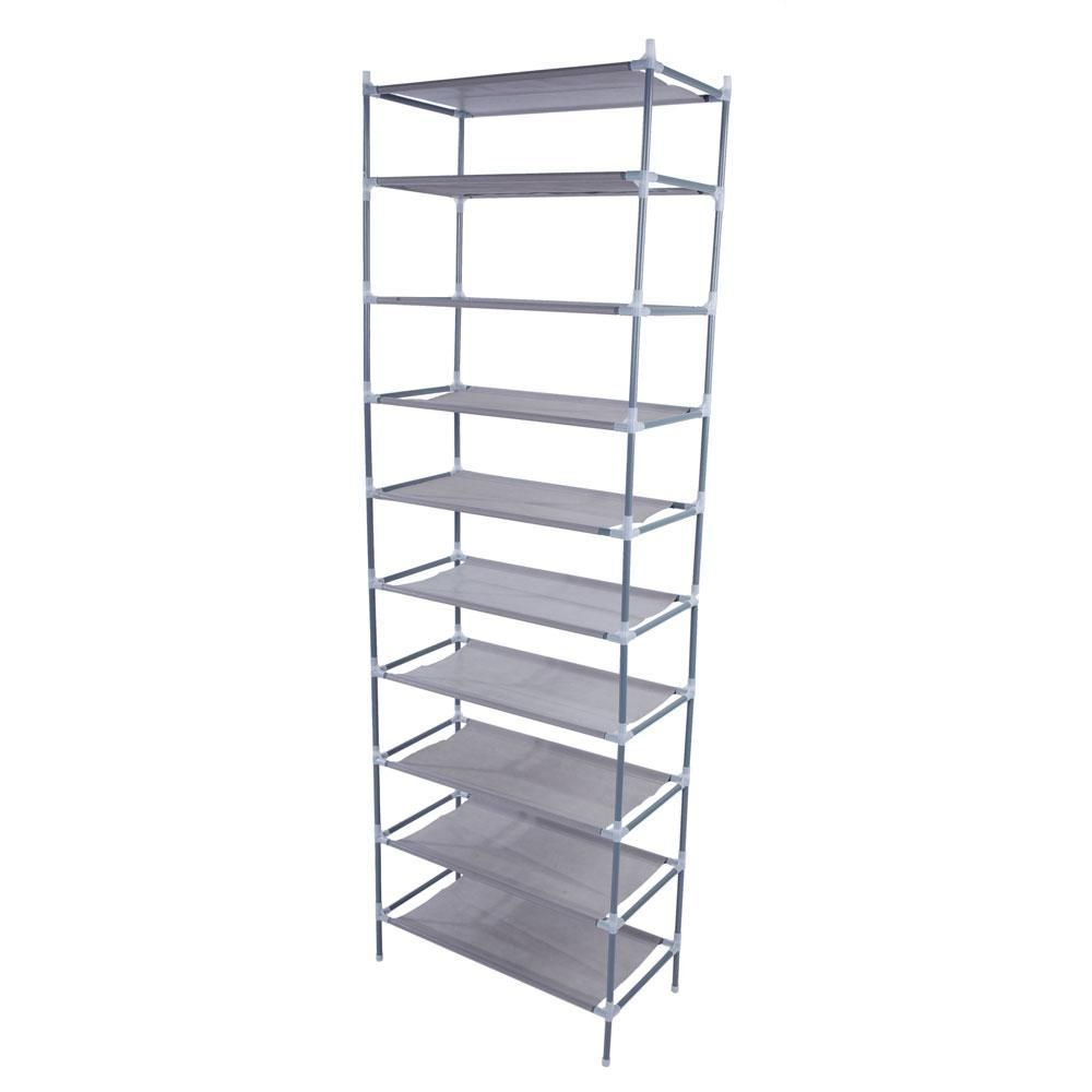 30 Pair Gray Simple Assembly 10 Tiers Non Woven Fabric Shoe Organizer 13028105 The Home Depot In 2020 With Images Shoe Rack Organization Shoe Shelf Fabric Shoes