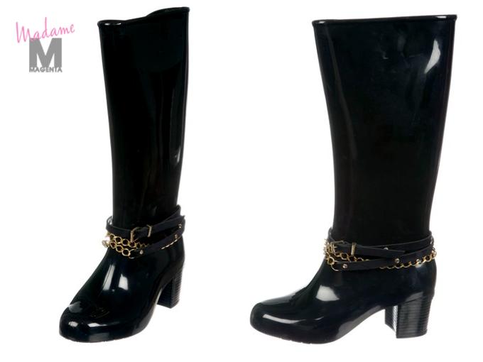 62ce79b2475cf melissa - black rain boots black chains botas agua negras