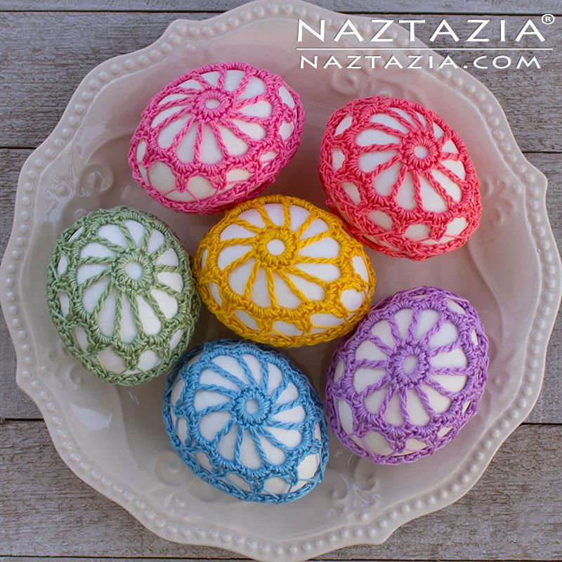 Háčkovaná krajka Vejce - Dekorace vejce se závitem - DIY Volný vzor a YouTube výukové video Donna Wolfe z Naztazia