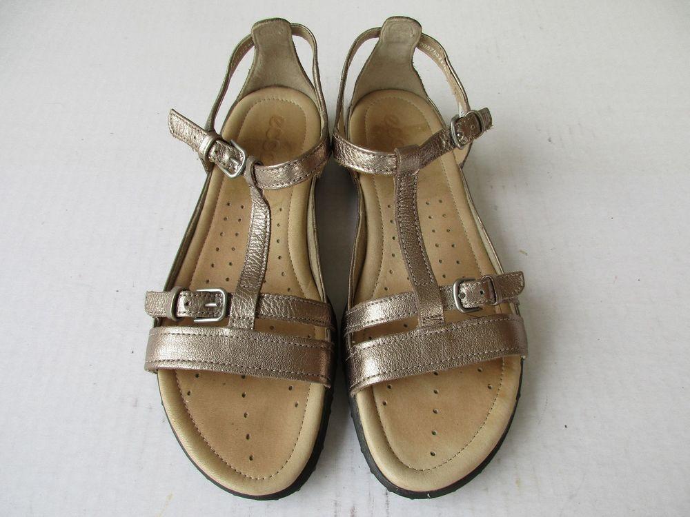 Ecco women sandal size 38 / 7-7.5 Gold Leather #ECCO #Gladiator #