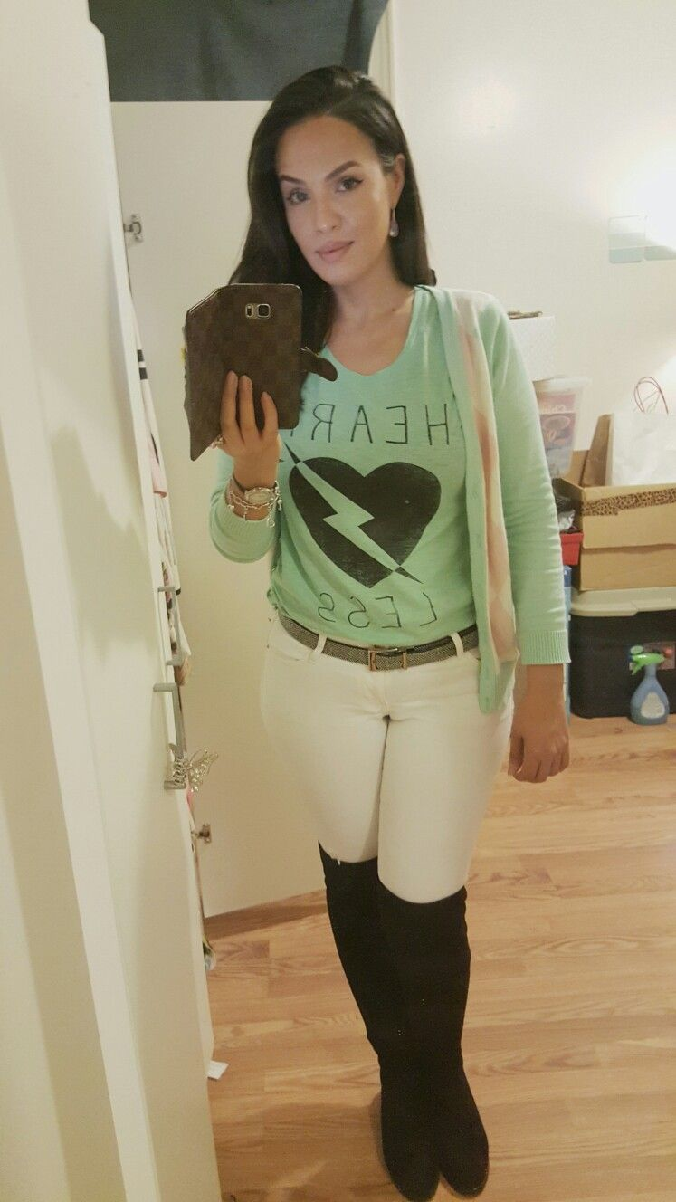 thigh high boots, stewart weitzman, white jeans, cardigan, mint