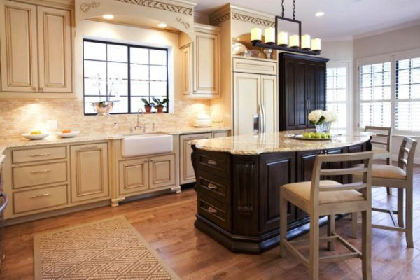 Kitchen With Dark Wood Floors - | French country kitchens ...