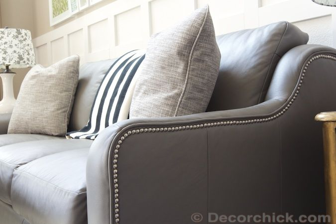 LaZBoy Talbot Sofa In Gray Leather With Nailhead Trim Accent