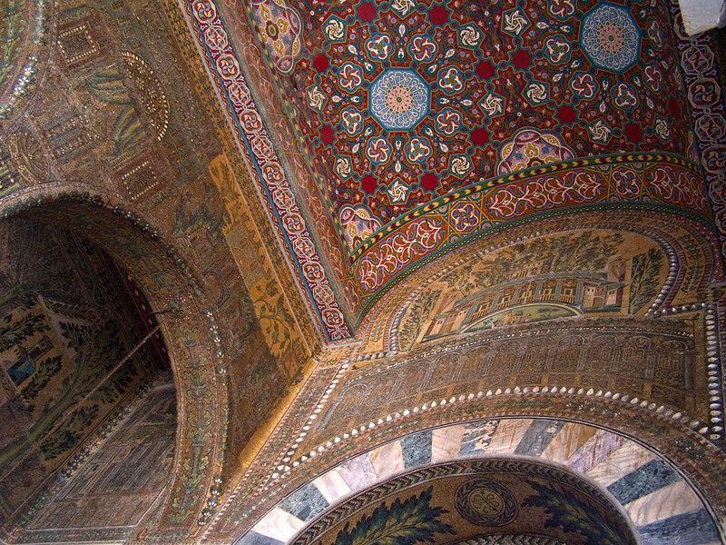 Mosaic at western entrance, Umayyad Mosque, Damascus