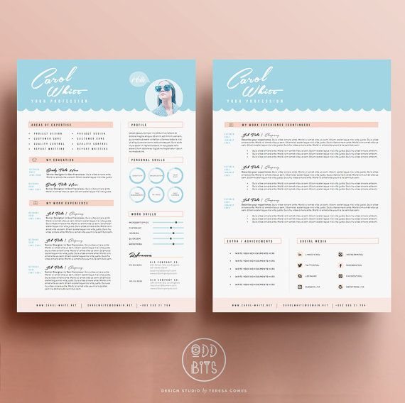 resume cv design cover letter template for word par oddbitsstudio