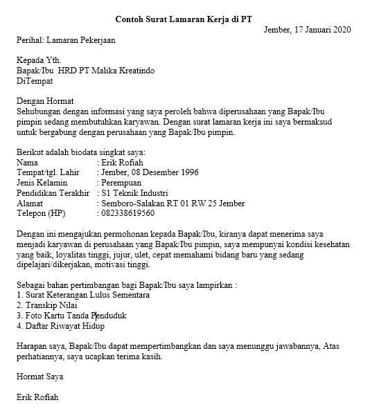 Contoh Surat Lamaran Kerja Tulis Tangan Pabrik Nusagates