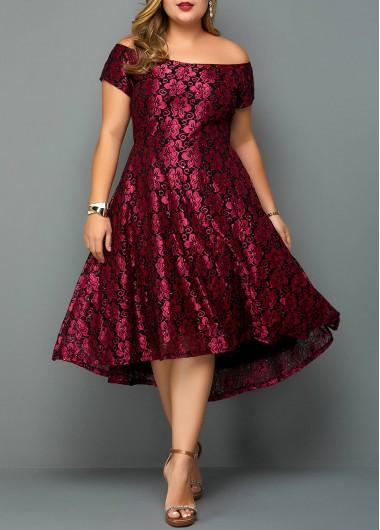 Womens Off The Shoulder Purple Plus Size Dress Plus Size Flower ...