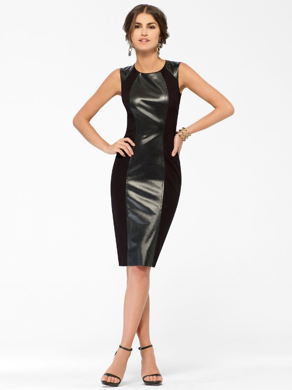 Ponte and Leather Sheath Dress- http://ow.ly/nVUrM