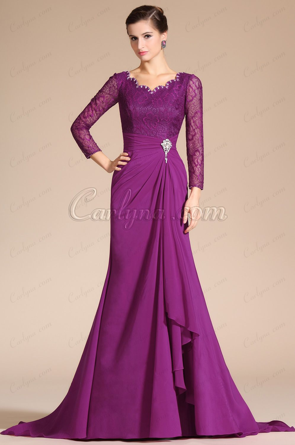 Carlyna 2014 New Sexy V-Neck Lace Top Sleeves Mother of the Bride ...