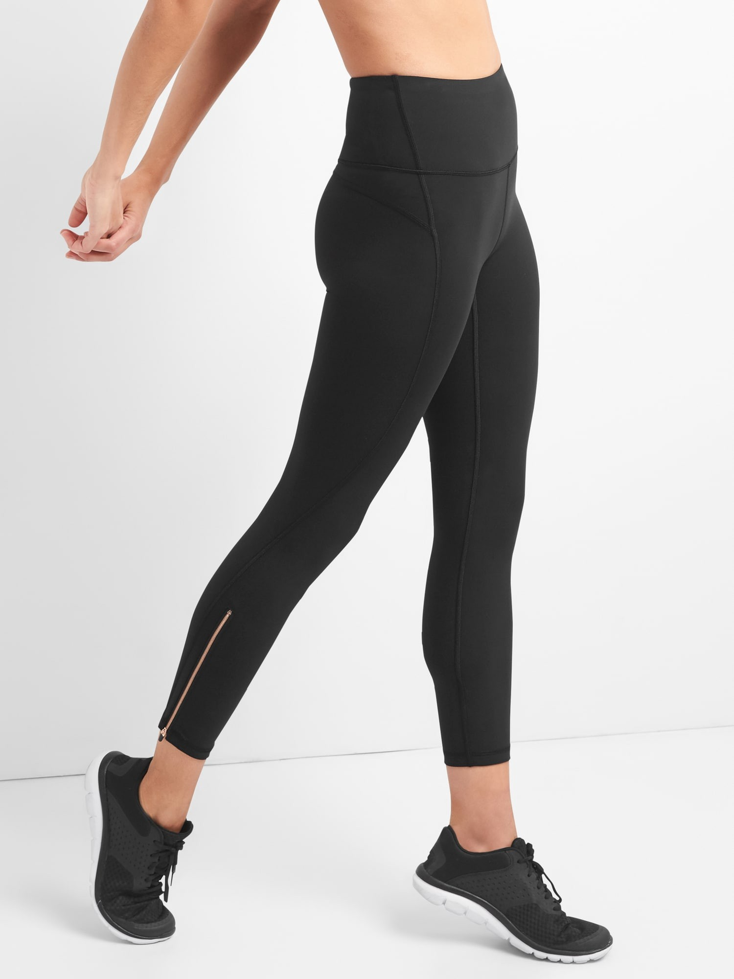 f63fa6f827c9c Gap Womens Gfast High Rise Blackout Zip-Ankle 7/8 Leggings - True Black Xs  Gold