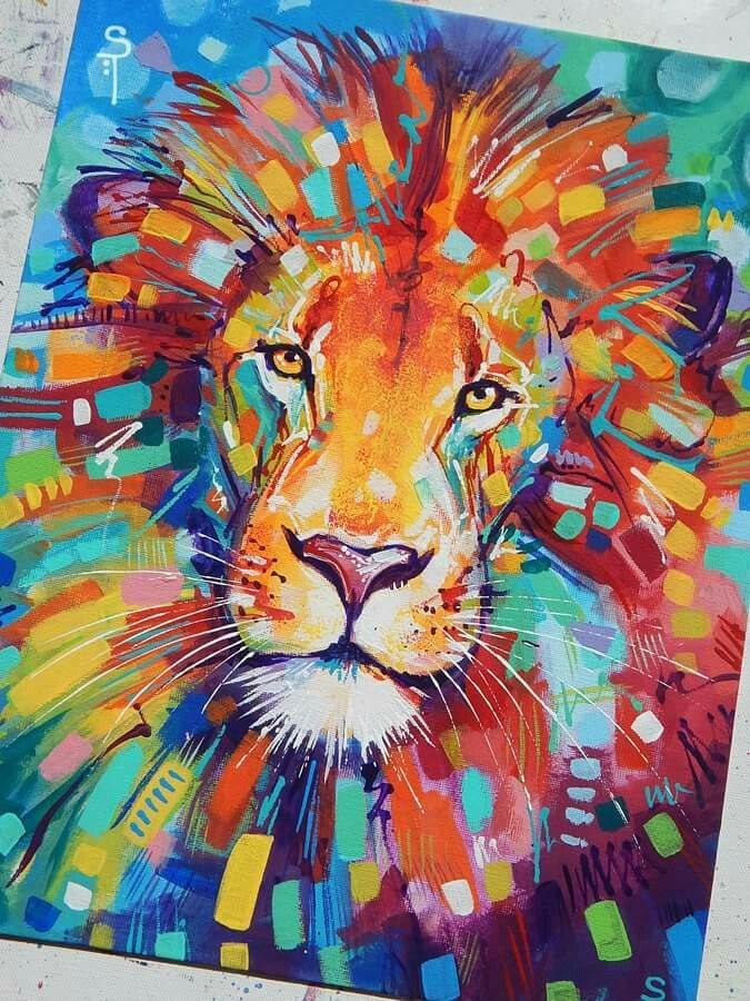 "Sandra Trubin - Abstracted Lion Acrylic on 11x14"" canvas ..."