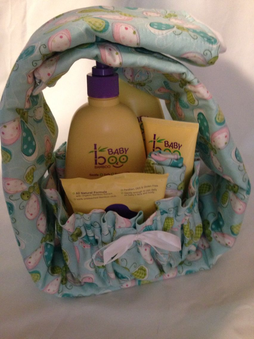 Baby bath gift set. Container is oval (ice cream container with rim ...