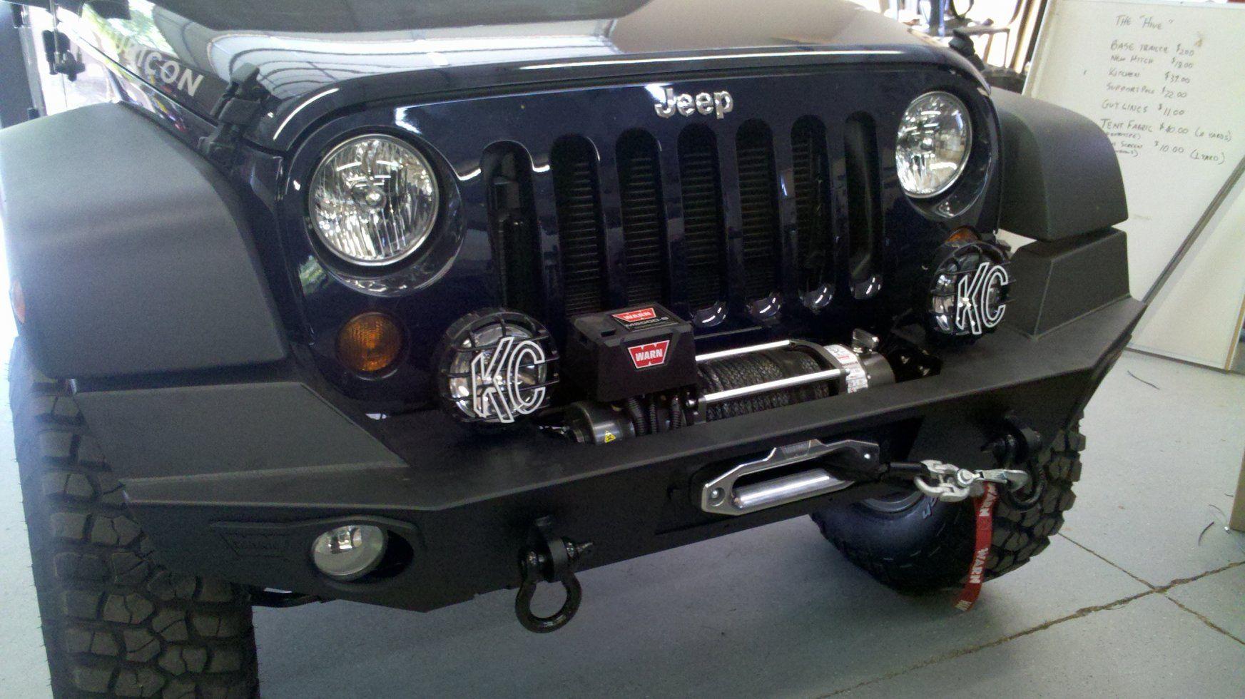 warn elite front bumper without hoop warn winch kc slimline long range lights  [ 1745 x 980 Pixel ]