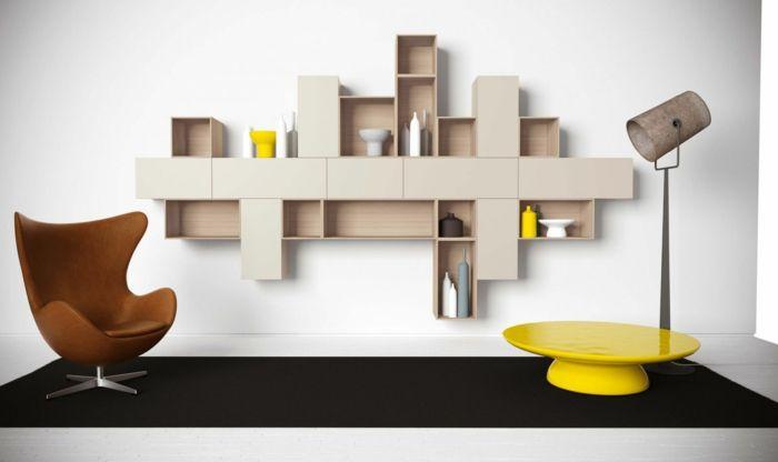 Wandgestaltung Ideen Stauraum Wandregale Accessoires Wohnzimmer Einrichten
