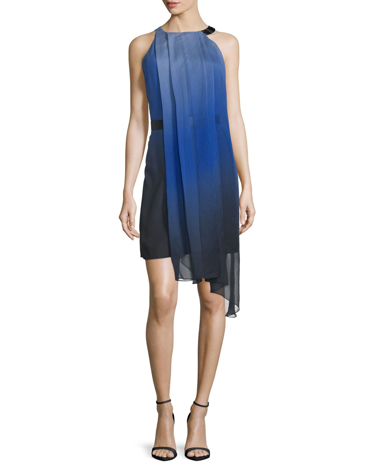 32c83b22a9b2 Halston Heritage Sleeveless Ombre Pleated Dress