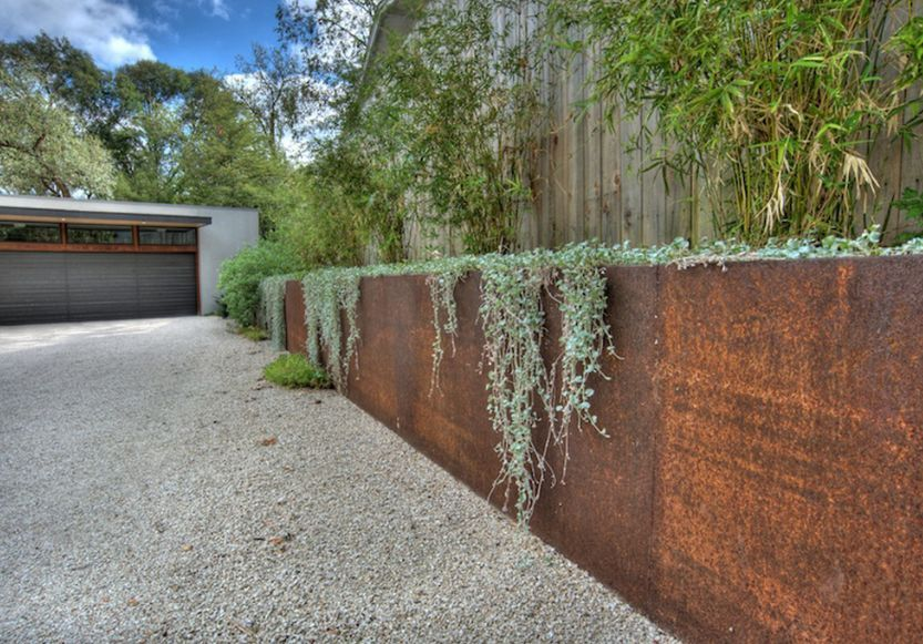 Beautiful Corten Steel Planters Shaped And Inspired By Nature Garden Retaining Wall Garden Design Garden Wall
