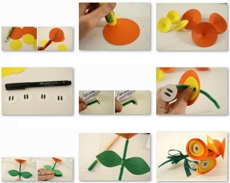 Como hacer flores para niños de preescolar | MANUALIDADES NIÑOS ...