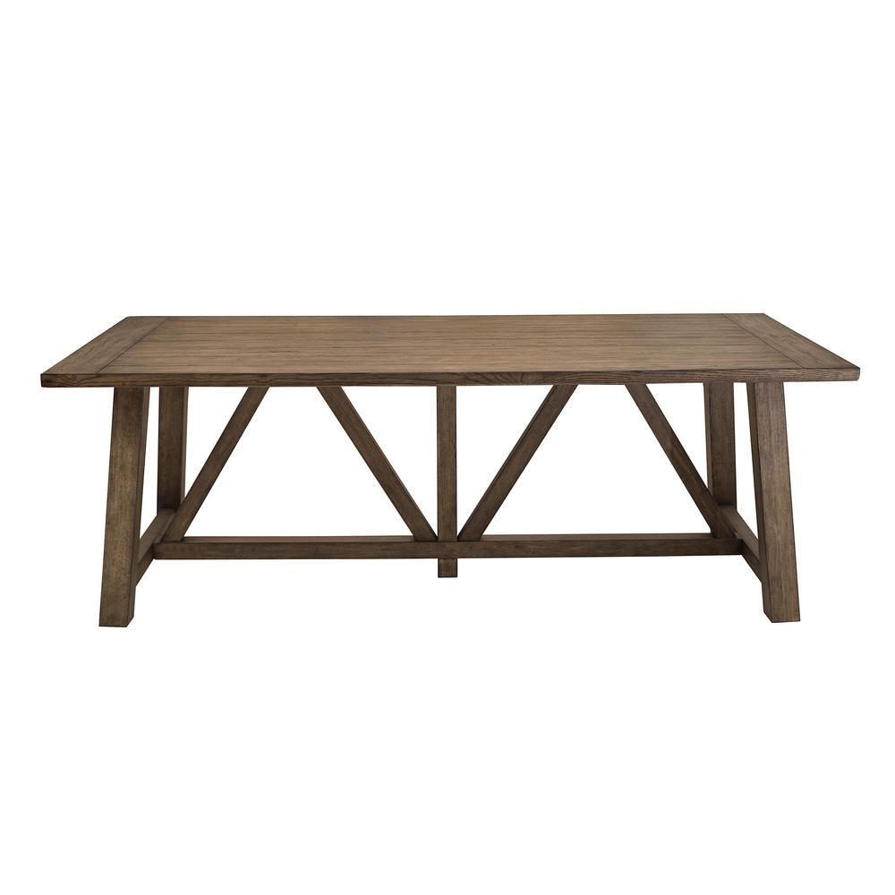 homefare light oak trestle dining table  trestle dining