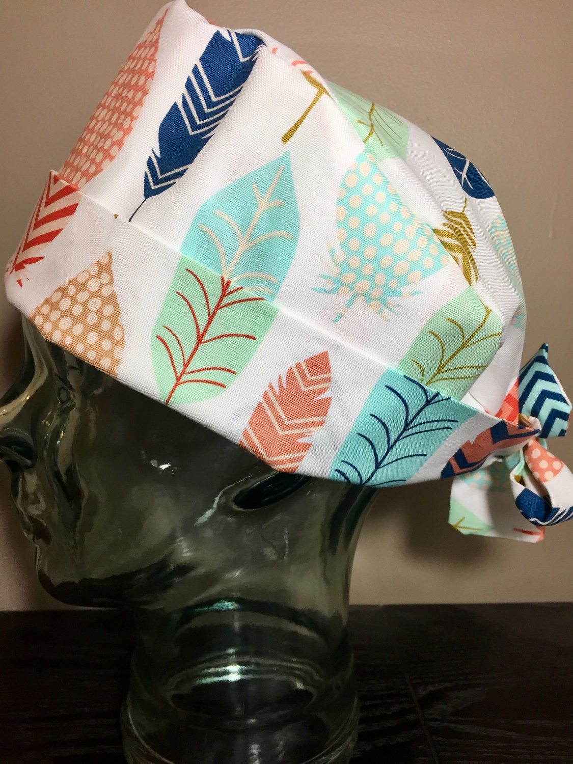 Chemotherapy Room Design: Blue, Coral & Mint Feather Surgical Scrub Hat, Women's