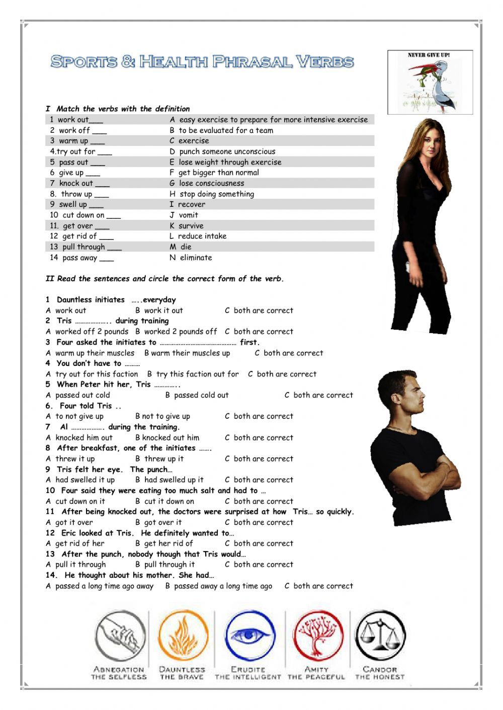 Phrasal verbs interactive and downloadable worksheet. You