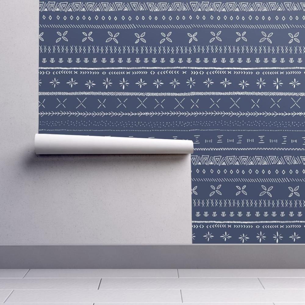 Navy Blue Wallpaper Boho Print By Shelbyallison Navy