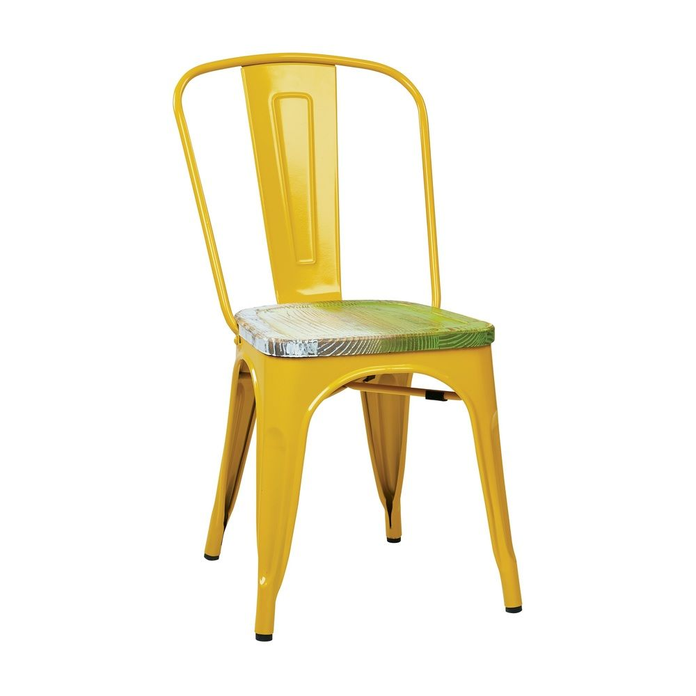 Yellow Frame Vintage Sheet Metal French Cafe And Bistro Armless Chairs (Set  Of 2) | Overstock™ Shopping   Great Deals On Office Star Products Dining  Chairs