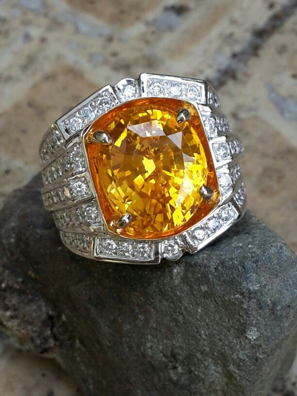 9 99ct Gentle Heated Ceylon Yellow Sapphire With Gold Diamond Ring Rings For Men Diamond Men Diamond Ring