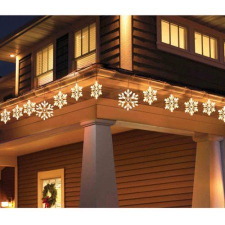 Holiday Time 9 Piece Twinkling Snowflake Icicle Christmas Lights Clear Wa Snowflake Christmas Lights Icicle Christmas Lights Decorating With Christmas Lights