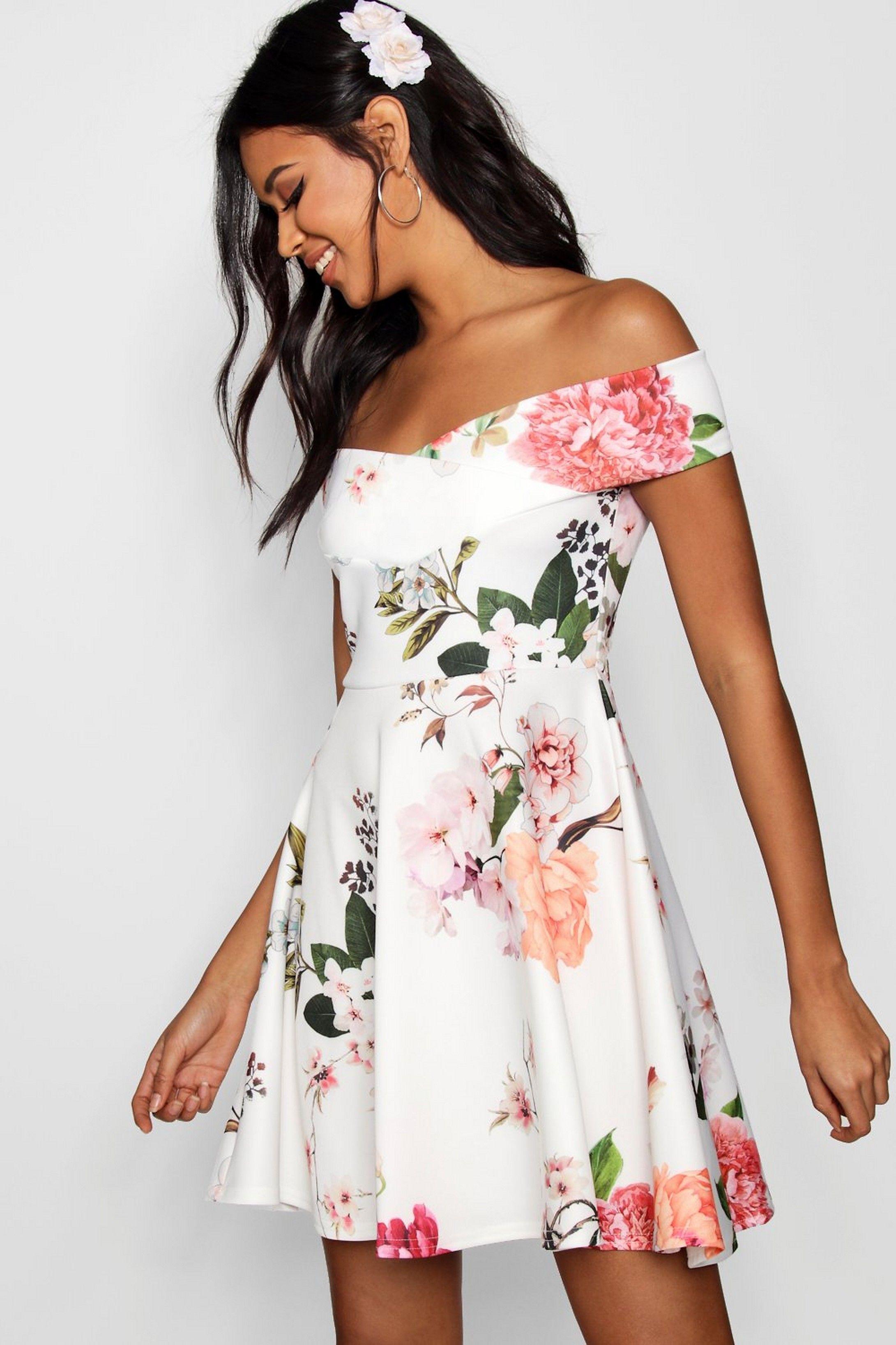 Floral Print Off Shoulder Skater Dress Boohoo Dresses Bodycon Fashion Floral Skater Dress [ 3272 x 2181 Pixel ]