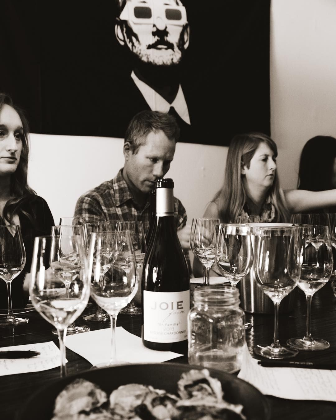 @joiefarm team Chardonnay blind tasting Karl seems to be smelling straight from the bottle #billmurray observes thru 3D glasses - all about the #joiedefarm