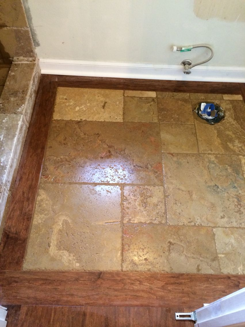 Beautiful custom wood and travertine inlay in master bathroom! Installed and designed by 714 Flooring Inc. Ca. Love how simple, clean, peaceful and beautiful this turned out!