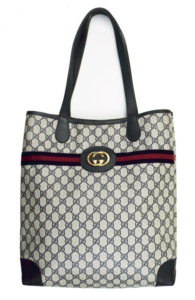 6943f774220c Vintage GUCCI Blue Monogram Iconic Stripe Tote Shoulder Bag Handbag - RARE   Gucci  TotesShoppers