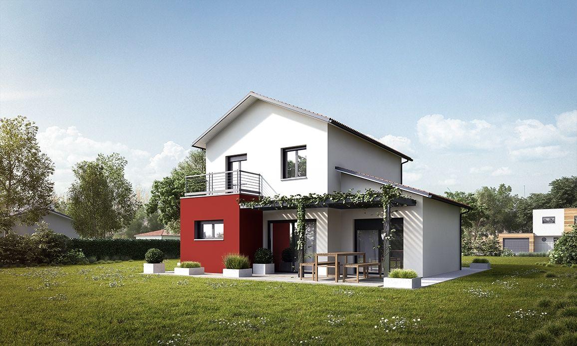 Maison moderne à étage avec suite parentale, garage en toiture plate ...