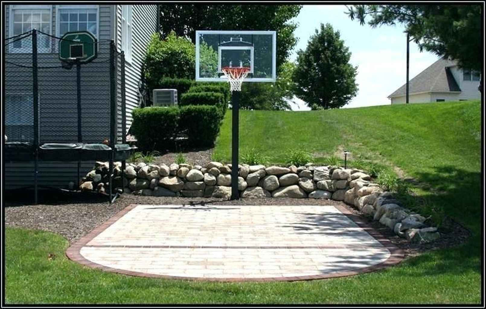 85 Fun Backyard Kids Design Ideas For Summer Outdoor Playground Homixover Com Pavers Backyard Backyard Court Backyard Basketball