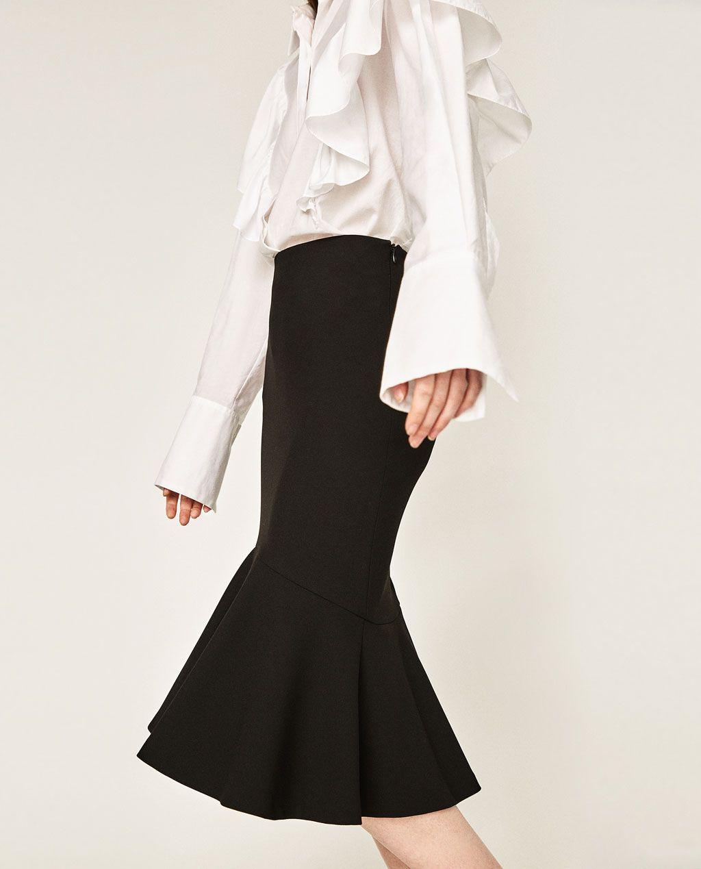 1d9693241 ZARA - FALDA TUBO VOLANTE | faldas (skirt) | Faldas, Faldas tubo y ...
