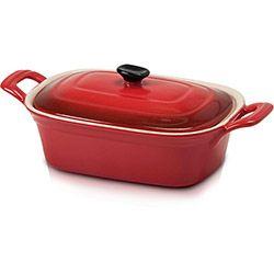 Caçarola de Cerâmica 20cm Retangular Vermelha - La Cuisine