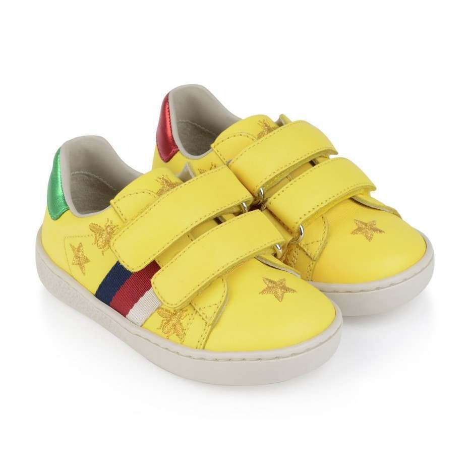 8084a6507ec GUCCI Yellow Leather Bee   Star Velcro Strap Trainers - Shoes - New Arrivals